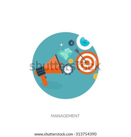 Flat vector illustration. Loudspeaker, bulb, watch. Concept background. Management and marketing. New ideas. - stock vector