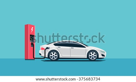 Flat vector illustration of a red electric car charging at the charger station. Electromobility e-motion concept.  - stock vector