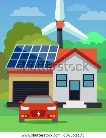 Flat vector illustration of an electric car in front of a house with solar panels and wind turbine in the background