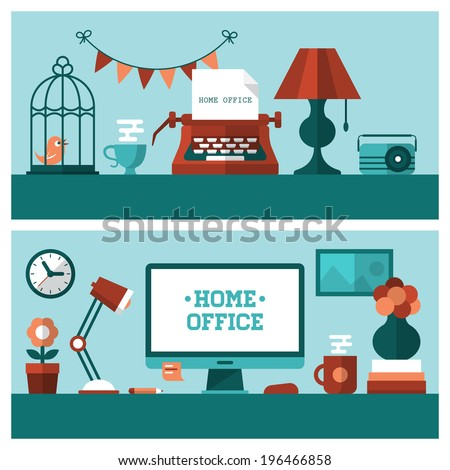 Flat vector illustration of banners for  vintage home office and modern workplace - stock vector