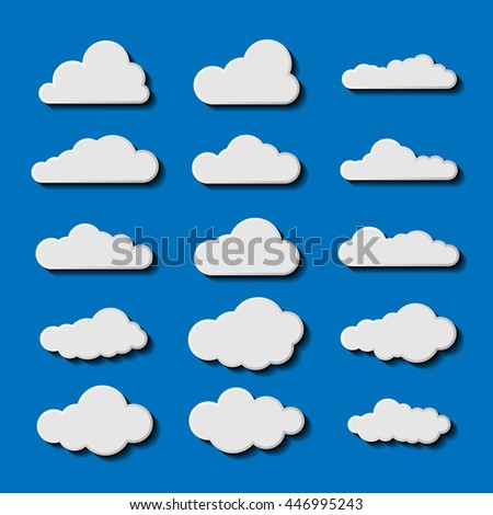 Flat Vector illustration of clouds collection. Sky cloud. Set of blue sky, clouds. Cloud icon Vector illustration. Flat shadows.