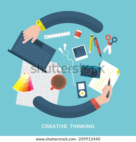 Flat vector illustration of creative thinking and design process - stock vector