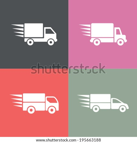 Flat vector illustration of delivery trucks. Four trucks, fully editable icons. - stock vector