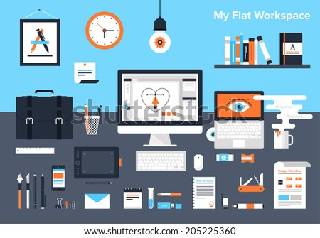 Flat vector illustration of designer's workplace. - stock vector