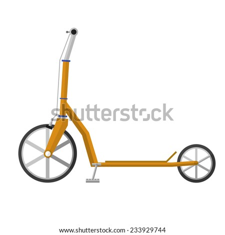 Flat vector illustration of electrical scooter. Yellow electrical kick scooter with gray handles and brake cables a front view. Flat design vector illustration isolated on white background. - stock vector