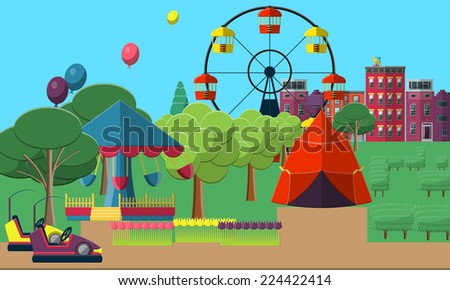 Flat Vector Illustration of Entertainment park for  Design, Website, Background Banner. Attraction Template with Lollipop, popcorn, darts, Cinema 3d, Balloon, building - stock vector
