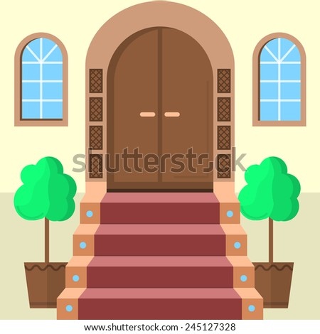 Flat vector illustration of facade doors with stairs. Brown wooden arch door with symmetry two windows, stairs with red carpet and two symmetry decorative trees. Flat design vector icon for building - stock vector