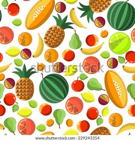 Flat Vector Illustration of Fruits Fresh Food for Design, Website, Background Banner. Seamless PAttern Template for Healthy Diet Concept With Lemon, grapefruit, Orange, Pine Apple, passion, Melon - stock vector