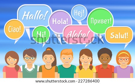 Flat vector Illustration of happy smiling kids that say hello in different languages with colorful speech bubbles on bright blurred background. Language School or international communication concept. - stock vector