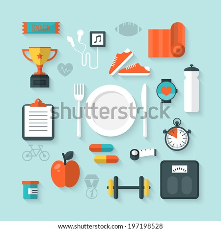 Flat vector illustration of icons for fitness and diet - stock vector