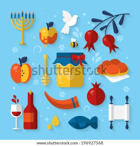 Flat vector illustration of icons for Jewish new year holiday Rosh Hashanah - stock vector