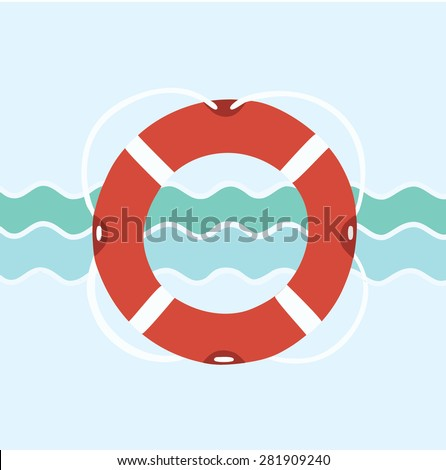 Flat vector illustration of life buoy on nautical background - stock vector