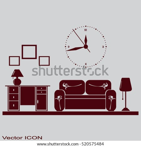 Flat vector illustration of living room with furniture.