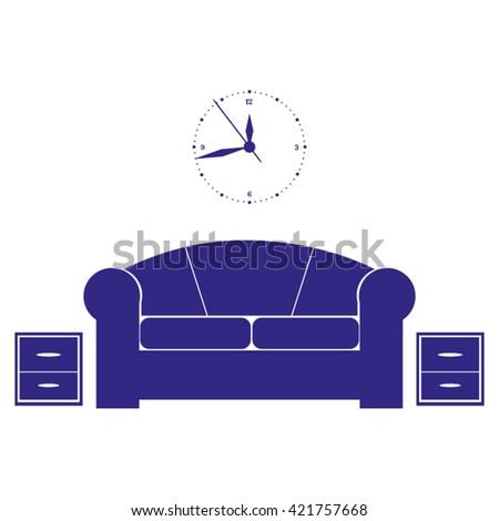 Flat vector illustration of living room with furniture. Interior of a living room.