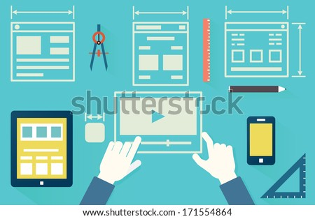 Flat vector illustration of mobile application optimization for devices, programming, design and analytics. Work process - vector illustration - stock vector