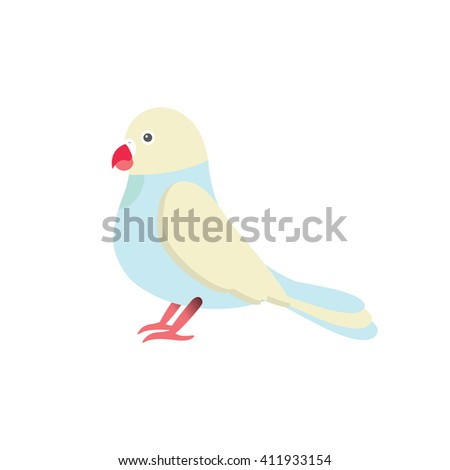 Flat vector illustration of parrot bird. Cartoon festive element for design, object isolated on white background. Blue, beige, pink, red  - stock vector