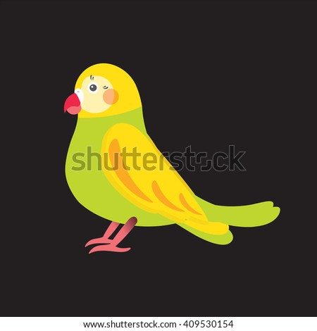 Flat vector illustration of parrot love  bird. Cartoon festive element for design, object isolated on black  background. Green, yellow, pink, red colors  - stock vector