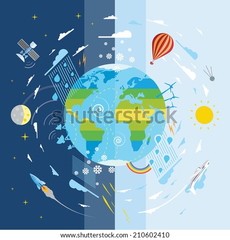 Flat vector illustration of planet Earth and weather conditions - stock vector