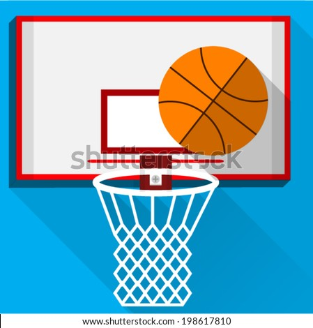 Flat vector illustration of play basketball. White backboard with white basket and basketball on blue background. - stock vector