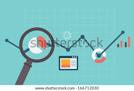 Flat vector illustration of web analytics information and development website statistic - vector illustration - stock vector
