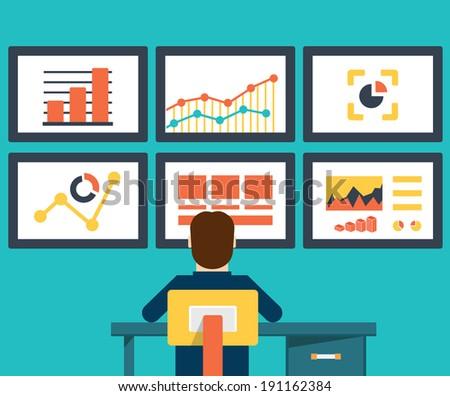 Flat vector illustration of web analytics information and development website statistic - vector illustration - stock vector