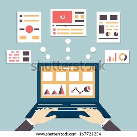 Flat vector illustration of web and application optimization, programming, design and analytics - vector illustration - stock vector