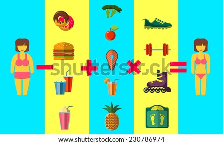 Flat Vector Illustration of weight loss program concept  Design, Website, Background Banner. Infographic Healthy Lifestyle Template. Sport and food - stock vector