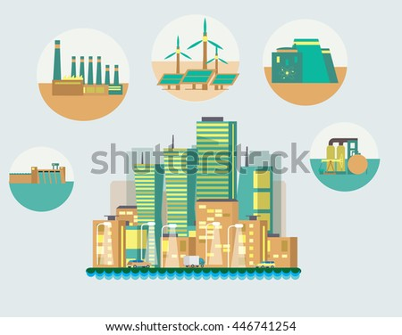 Flat vector illustration on energy sources. Electric power for city and urban areas. Wind, nuclear, solar, hydrogen and other energy use. - stock vector