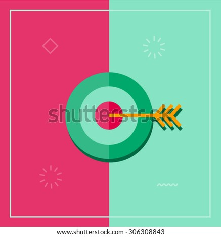 Flat vector illustration or target bulls eye with arrow