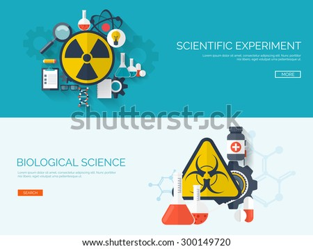 Flat vector illustration. Radiation and biological danger symbols. Scientific experiment and science. Laboratory research. - stock vector