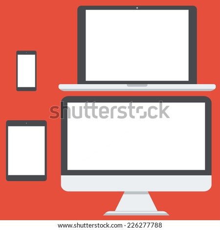 flat vector illustration set of modern technology devices - computer monitor, laptop, digital tablet and mobile phone with blank screen. Isolated on red background.