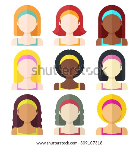 Flat vector illustration: Set of nine different nation woman icons isolated on white background - stock vector