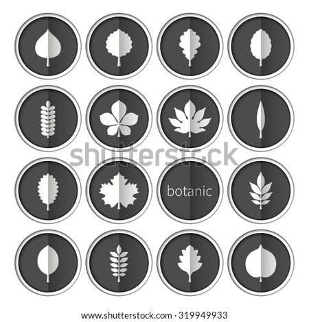 Flat vector illustration: set of sixteen circle slot windows with white silhouettes of different tree leaves on black backdrops with white stroke and vertical shadow isolated on white background