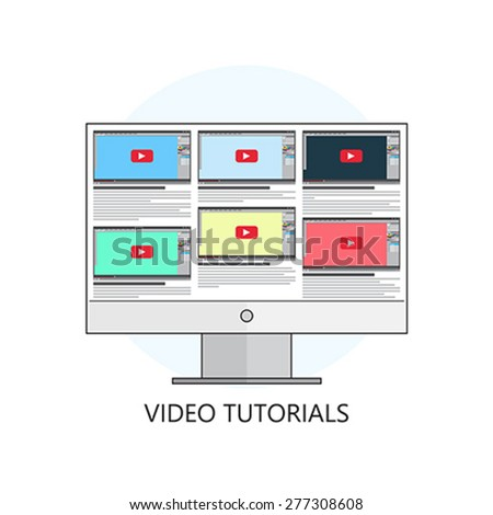 Flat vector illustration.Video tutorials. Study and learning concept background. Distance education. Internet and video services. - stock vector
