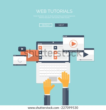 Flat vector illustration.Web tutorials. Study and learning concept background. Distance education, brainstorm and knowledge growth,school and university subjects.Internet and video services. - stock vector