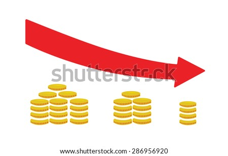 Flat vector image of coins and an arrow pointing downwards - stock vector