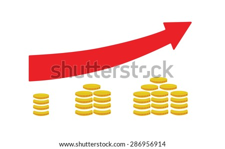 Flat vector image of coins and an arrow pointing upwards - stock vector