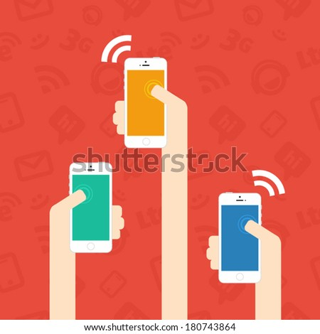 Flat vector image of hands holding smartphone - stock vector