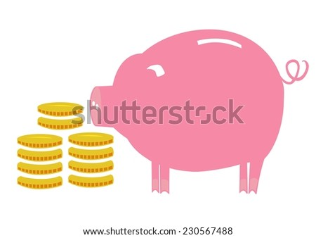 Flat vector image of piggy bank with coins - stock vector