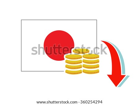 Flat vector image of the Japanese flag with coins and a downward arrow - stock vector