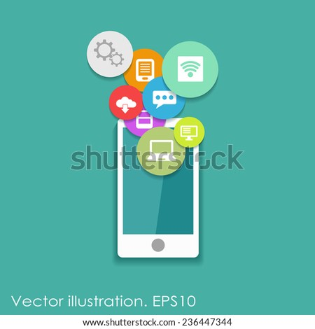 Flat vector infographic design with mobile phone and different icons on blue background - stock vector