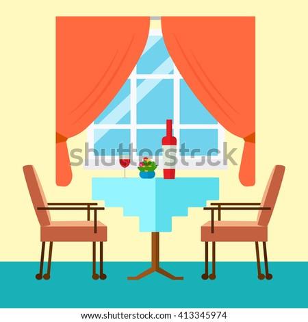 Living room interior window flat design stock vector for Table design vector