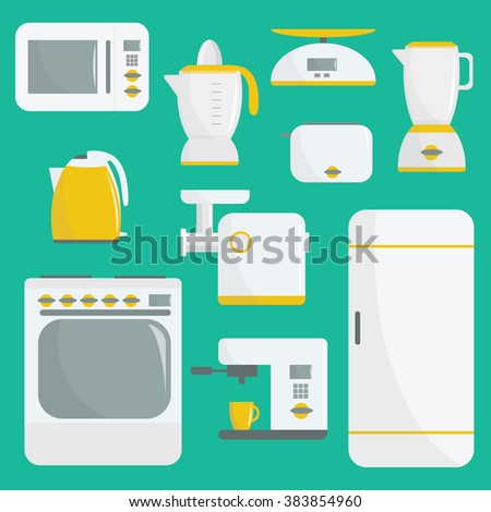 Flat vector kitchenware illustration. Kitchen appliances. Set of elements. Microwave, oven, refrigerator, coffee machine, espresso machine, blender, electric kettle, grinder, toaster. For web or print - stock vector