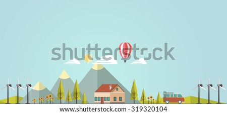 Flat Vector landscape background. - stock vector