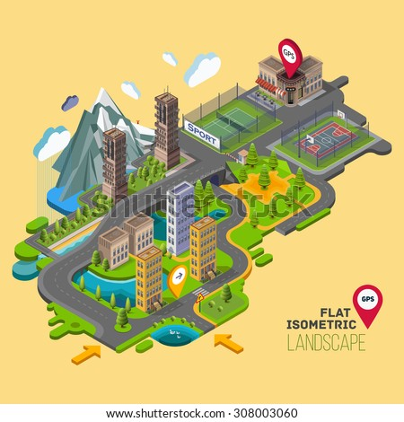 Flat vector landscape with a parks,buildings,seating area, sports grounds, picture of the nature and landscape of mountains and lakes, road junction GPS navigation infographic 3d isometric concept. - stock vector