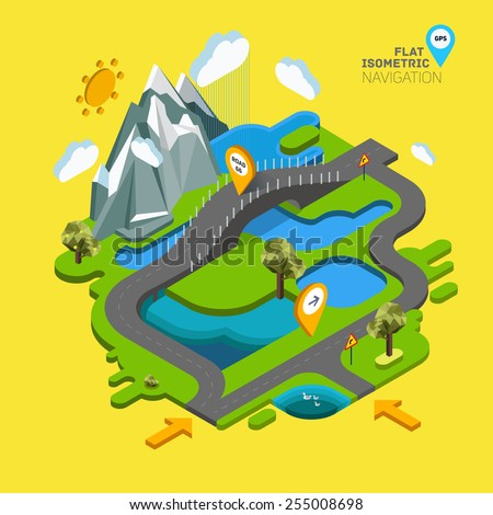 Flat vector landscape with a picture of the nature and landscape of mountains and lakes, road junction GPS navigation infographic 3d isometric concept. - stock vector