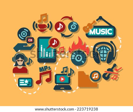 Flat Vector Music Icon Set for web and mobile. - stock vector