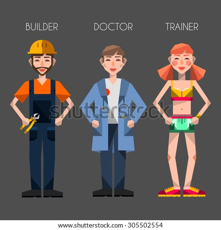 flat vector occupation professions set collection doctor scientist fitness trainer sport builder carpenter engineer workman worker different people icons avatar - stock vector
