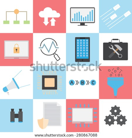 flat vector of technology concepts - stock vector
