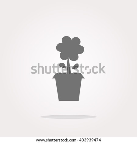 flat vector Plant in flower pot button isolated on white